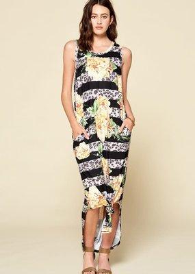 Oddi Black Floral Leopard Stripe Maxi