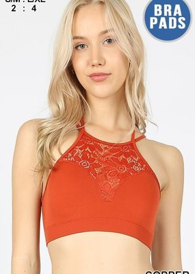 Zenana Burnt Orange High Neck Lace Bralette w/ Pads