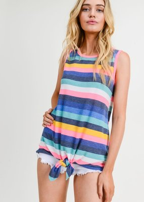 First Love Multi-Color Striped Tank with Tie