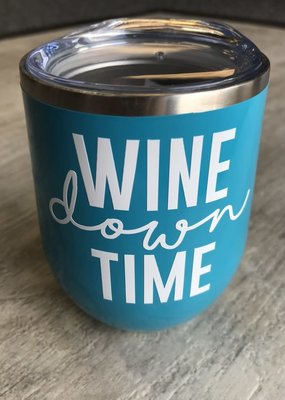 Sweet Caroline Boutique Wine Down Time 12oz Tumbler - Aqua