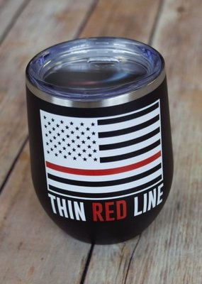 Sweet Caroline Boutique Thin Red Line 12oz Tumbler - Black
