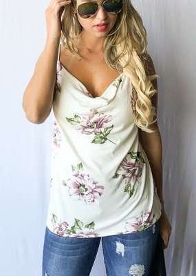 And the Why Ivory Floral Blouse Tank