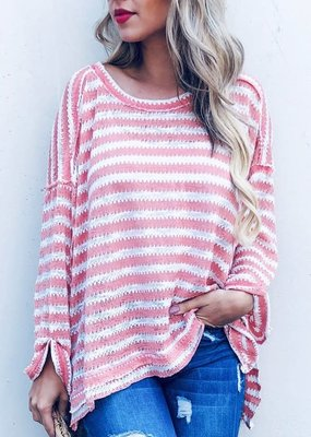 And the Why Peach Stripe Summer Sweater