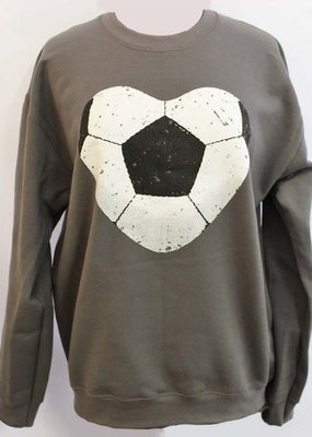 Plain Tee Apparel Soccer Heart Crew Sweatshirt