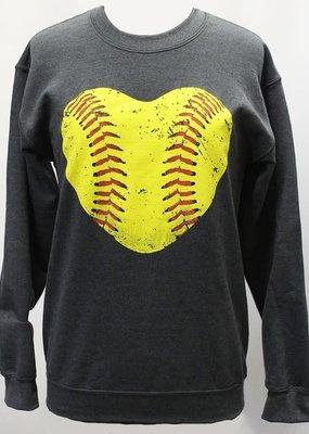 Plain Tee Apparel Softball Heart Crew Sweatshirt