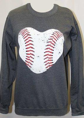 Plain Tee Apparel Baseball Heart Crew Sweatshirt