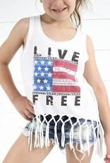 Glittering South Girls Live Free Fringe Tank