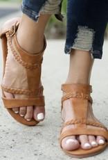 Appleblossom Tan Braided Woven Strappy Flat Sandals