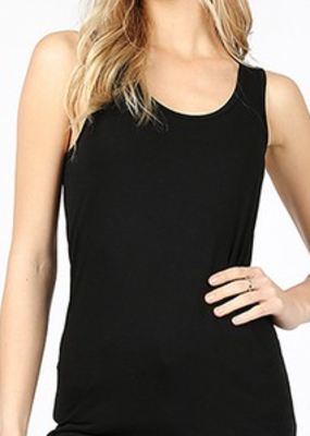 Zenana Black Ribbed Racerback Tank