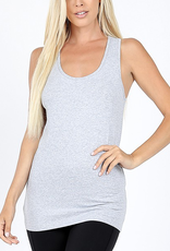 Zenana Gray Ribbed Racerback Tank