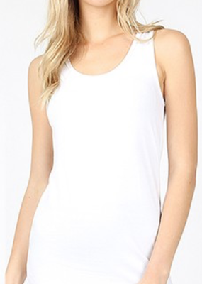Zenana White Cotton Racerback Tank