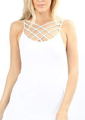 Zenana White Criss Cross Cami