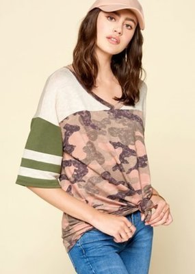 Oddi Camouflage V-Neck Varsity Knit Top