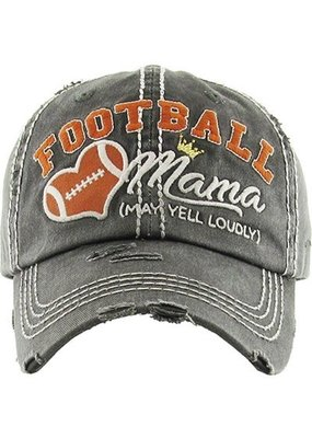 Your Fashion Wholesale Football Mama (May Yell Loudly) Vintage Hat - Orange/Gray