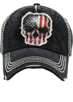 Too Too Hat Black Patriotic Skull Distressed Hat