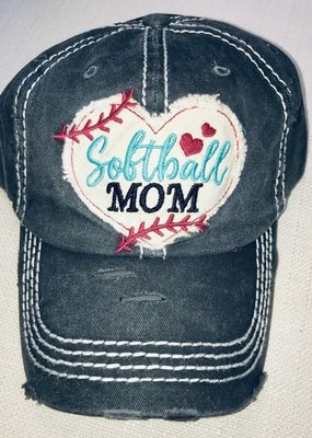 Too Too Hat Softball Mom Vintage Hat - Charcoal