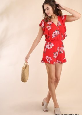 American Fit Red Floral Ruffle Romper