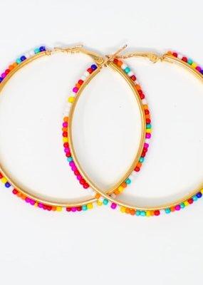 Cute Little Trends Rainbow Confetti Beaded Hoop Earrings