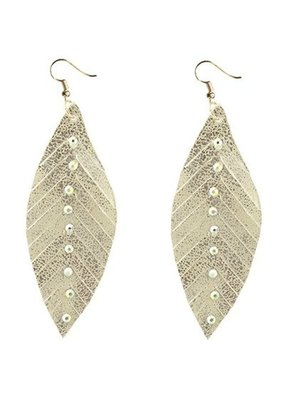 Gold Feather Earrings with Crystals