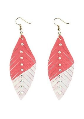 Coral & White Feather Earrings with Crystals