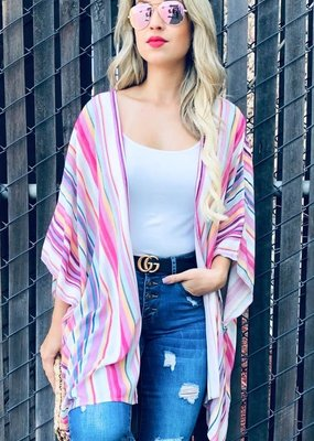 And the Why Multi Color Stripe Kimono