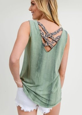 First Love Green and Leopard Tank Top