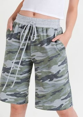 First Love Camo Print Drawstring Shorts