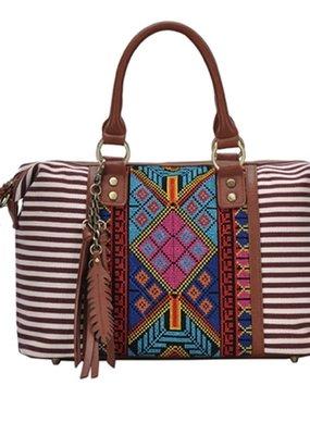PJEE  Handbags Burgundy Tribal Handbag