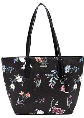 PJEE  Handbags Black Floral Vegan Leather Handbag