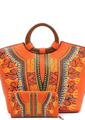 PJEE  Handbags Orange Bohemian Vegan Leather Satchel with Wallet