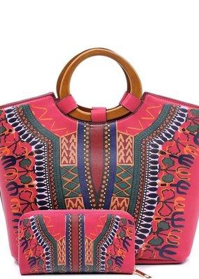 PJEE  Handbags Fuchsia Bohemian Vegan Leather Satchel with Wallet