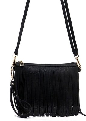 PJEE  Handbags Black Fringe Clutch and Cross Body Bag