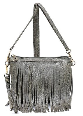 PJEE  Handbags Pewter Fringe Clutch and Cross Body Bag