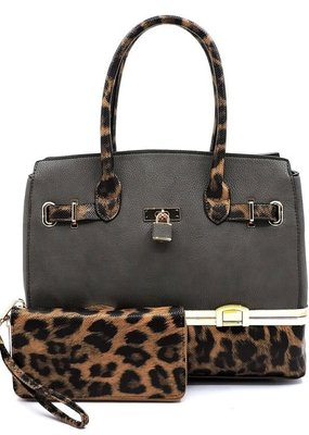 PJEE  Handbags Gray and Leopard Vegan Leather Colorblock Satchel with Wallet