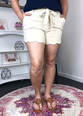 L Love Beige Paper Bag Shorts