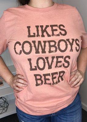 Diamond Diva Designs Likes Cowboys, Loves Beer Tee
