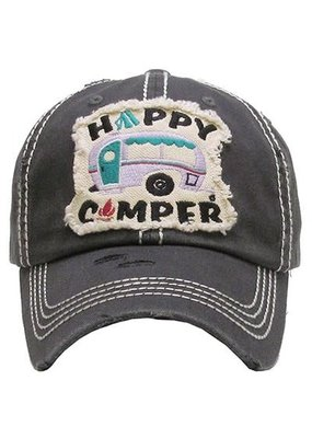 Your Fashion Wholesale Happy Camper Vintage Hat - Charcoal