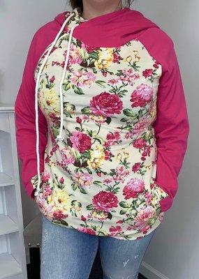 Vanilla Bay Pink Floral Double Hoodie