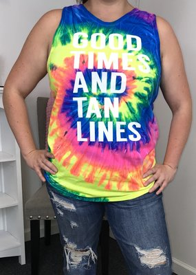Glittering South Good Times and Tan Lines Tie Dye Tank
