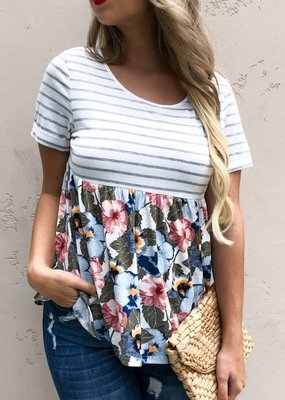 And the Why Grey Stripe Floral Baby Doll Top