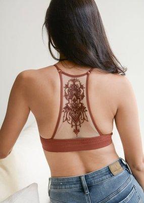 Leto Tattoo Mesh Back Bralette Rust