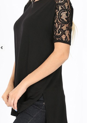 Zenana Lace Shoulder High Low Top Black