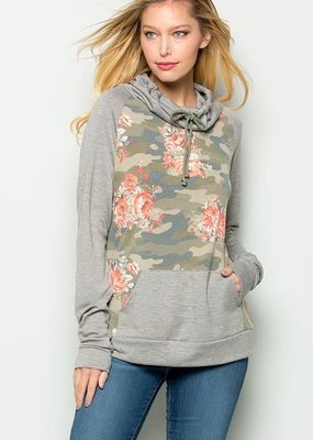 Cezanne Camouflage Floral Cowl Neck Sweater