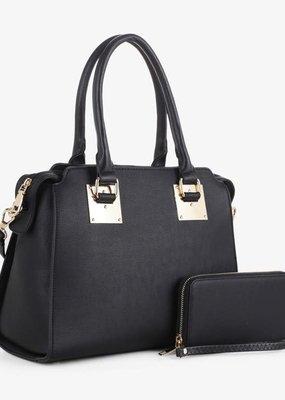 PJEE  Handbags Black and Gold Vegan Leather Handbag