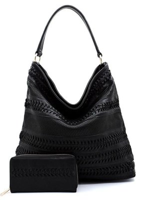 PJEE  Handbags Black Vegan Leather Woven Tote Bag