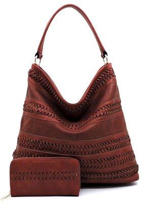 PJEE  Handbags Brick Vegan Leather Woven Tote Bag