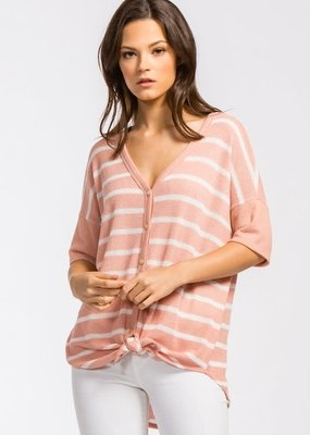Cherish Faux Button Down Peach Stripe Top