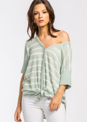 Cherish Faux Button Down Mint Stripe Top