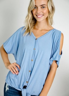e.Luna Baby Blue Cold Shoulder Top (S, M only)
