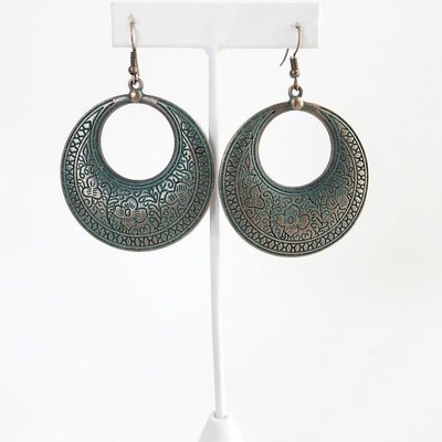 Lucky & Blessed Turquoise Bronze Hoop Earrings
